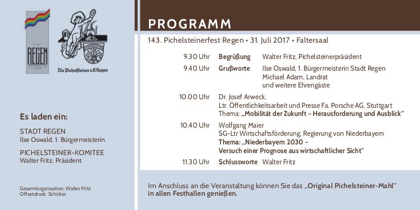 Programm zum Tag der Wirtschaft am 143. Pichelsteinerfest Regen